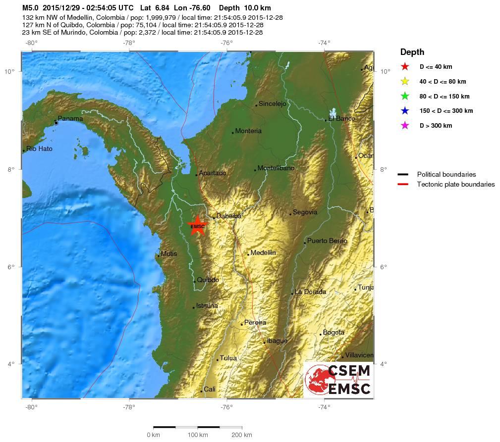 Terremoto Colombia, forte scossa di magnitudo 5.0 Richter