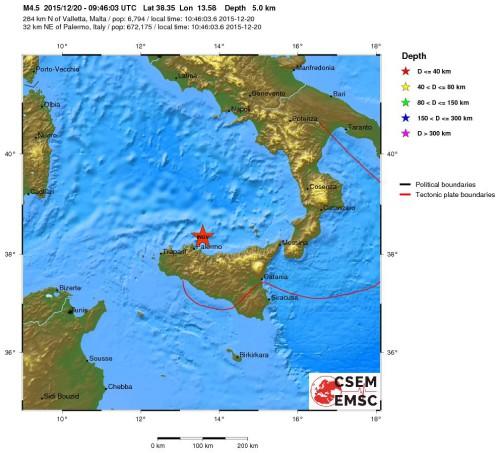Terremoto Sicilia oggi, intensa scossa di magnitudo 4.0 Richter, paura a Palermo