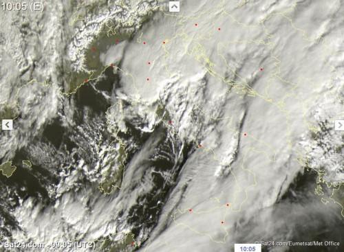 Italia dal satellite: forti piogge e temporali su molte zone