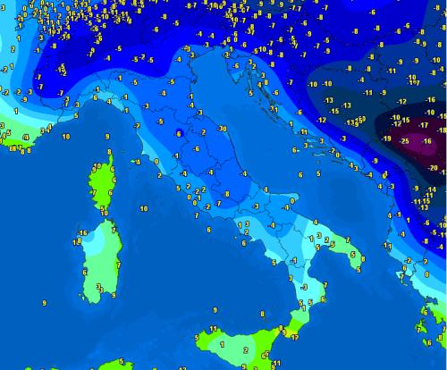 Freddo intenso stamane sull'Italia, fino a -10°C al Nord
