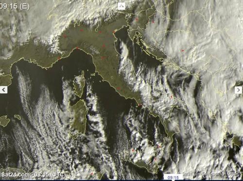 Satellite live, piogge e nevicate tra Sicilia e adriatiche