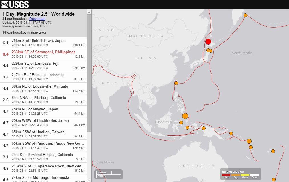 Doppia forte scossa di terremoto in Asia: M 6.4 Filippine, M 6.1 Giappone