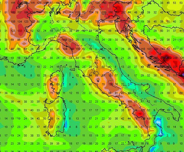 Previsioni meteo, piogge intense per molti giorni