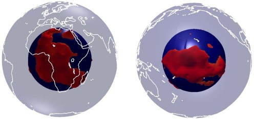 Spaventosi serbatoi di magma al di sotto dell'Africa e del Pacifico, la scoperta