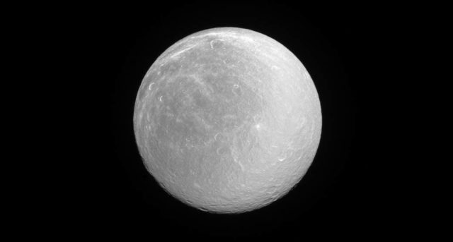 Rea, la 'brillante' luna di Saturno nello scatto di Cassini