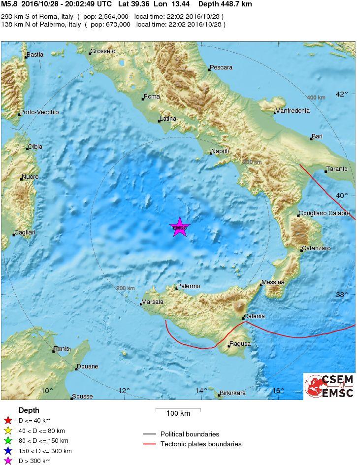 Terremoto Mar Tirreno Meridionale: forte scossa di magnitudo 5.8 Richter avvertita al Centro-Sud