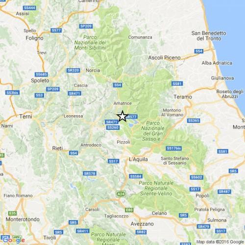 Terremoto: forte scossa tra L'Aquila ed Amatrice