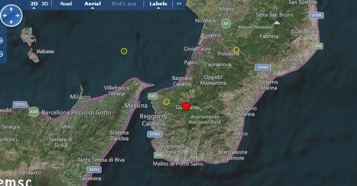 Terremoto Stretto di Messina: scossa M 3.2 Richter tra Sicilia e Calabria