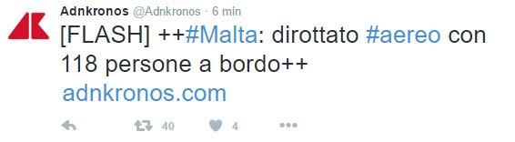 Malta: aereo dirottato, flash Adnkronos