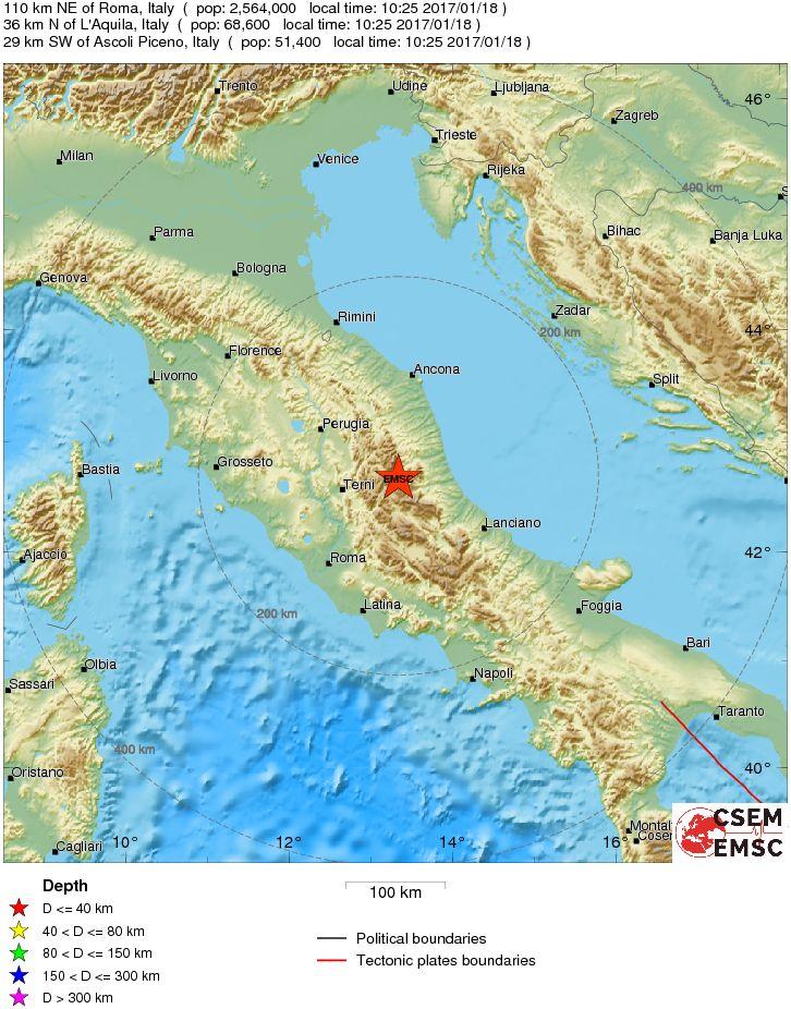 Terremoto Centro-Italia: magnitudo 5.4 Richter