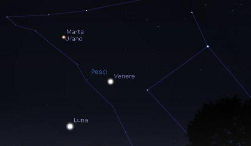 Congiunzione Venere Luna e Marte Urano, doppio spettacolo nelle prossime ore
