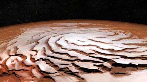 Marte, le spettacolari spirali della calotta del polo nord