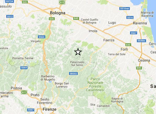 Terremoto Bologna: scossa nell'Appennino con epicentro a Castel del Rio