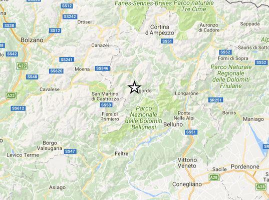 Terremoti nord Italia: scossa M 3.6 nel Bellunese e due repliche M 2.6 e 3.1