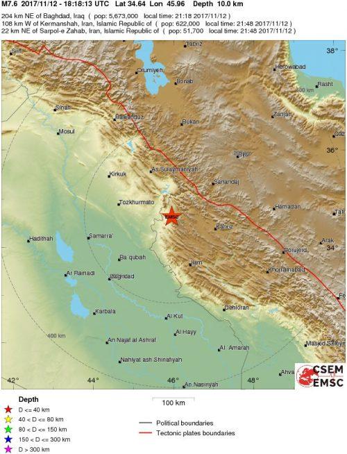 Terremoto Iran Iraq: violentissima scossa di magnitudo 7.6 Richter