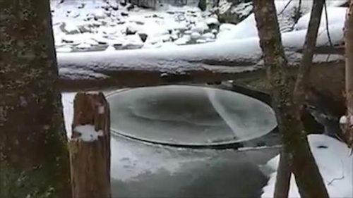 Il disco ghiaccio rotante, il video del fenomeno in un lago americano