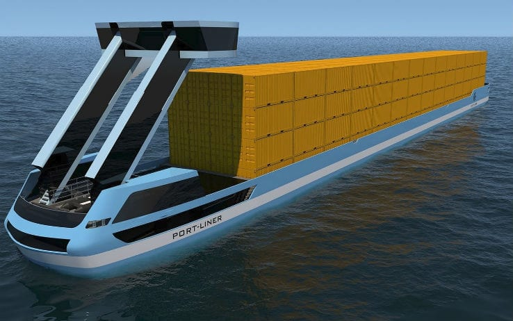 Nuove chiatte a propulsione elettrica per il trasporto container