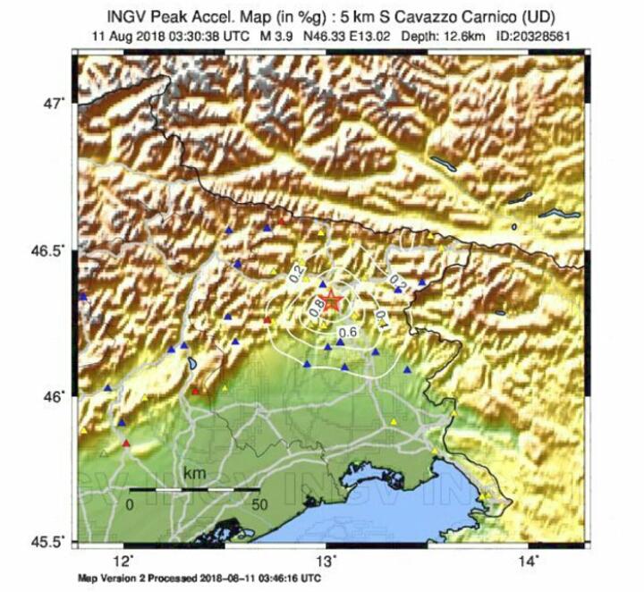 Terremoto Friuli-Venezia Giulia, scossa di 3.9 gradi