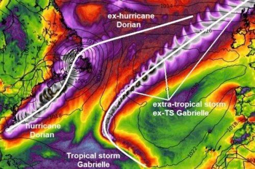 Uragano Dorian e tempesta Gabrielle in Europa: le zone a rischio