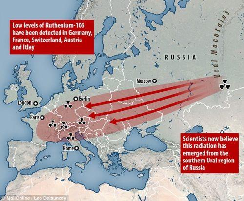 Nube radioattiva di rutenio-106 del 2017: contaminazione record in Europa e Asia