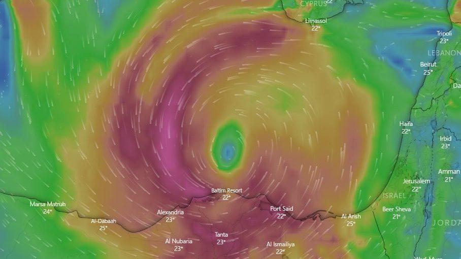 Uragano mediterraneo tra Egitto ed Israele: piogge torrenziale e forti venti