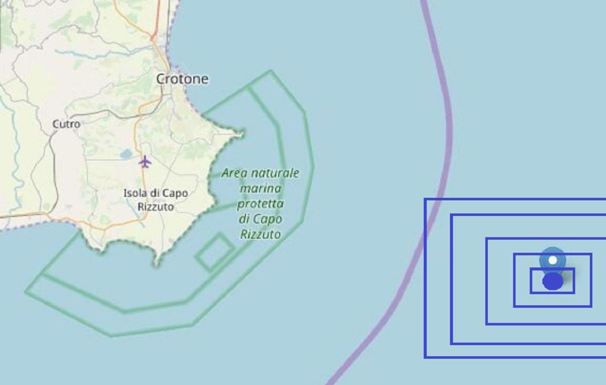 Terremto M 3.9 al largo di Crotone, scossa distintamente avvertita dalla popolazione