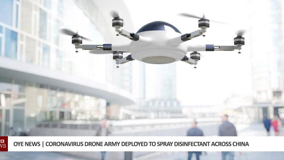 Cina: i droni spruzzano disinfettante nelle strade