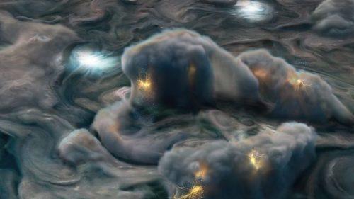 Giove: la spettacolare immagine di JUNO che riprende i fulmini superficiali