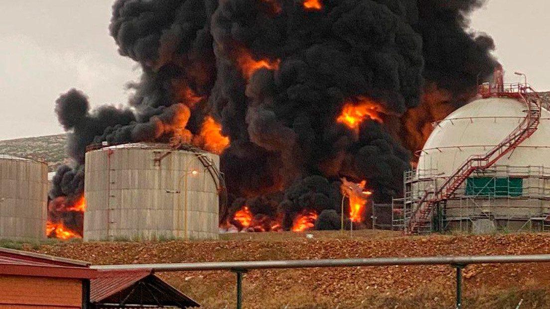 Spagna: fulmine colpisce  impianto petrolchimico Repsol. Esplosione e nube nera