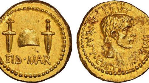 Scoperta rarissima moneta in oro dedicata all'assassinio di Giulio Cesare