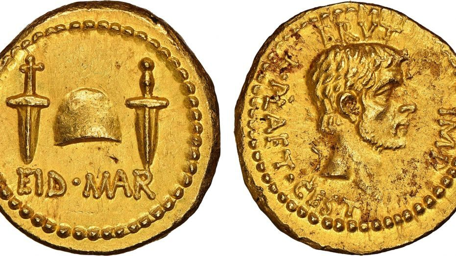 Scoperta rarissima moneta in oro dedicata all'assassinio di Giulio Cesare