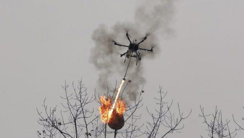 Cina: un drone con lanciafiamme per combattere i nidi di calabrone. Il video