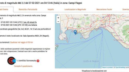 Terremoto Campi Flegrei: scossa e boato nel cuore della notte