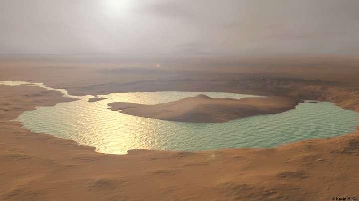 Marte: una misteriosa rete di antichi ruscelli e laghi scoperta in un cratere