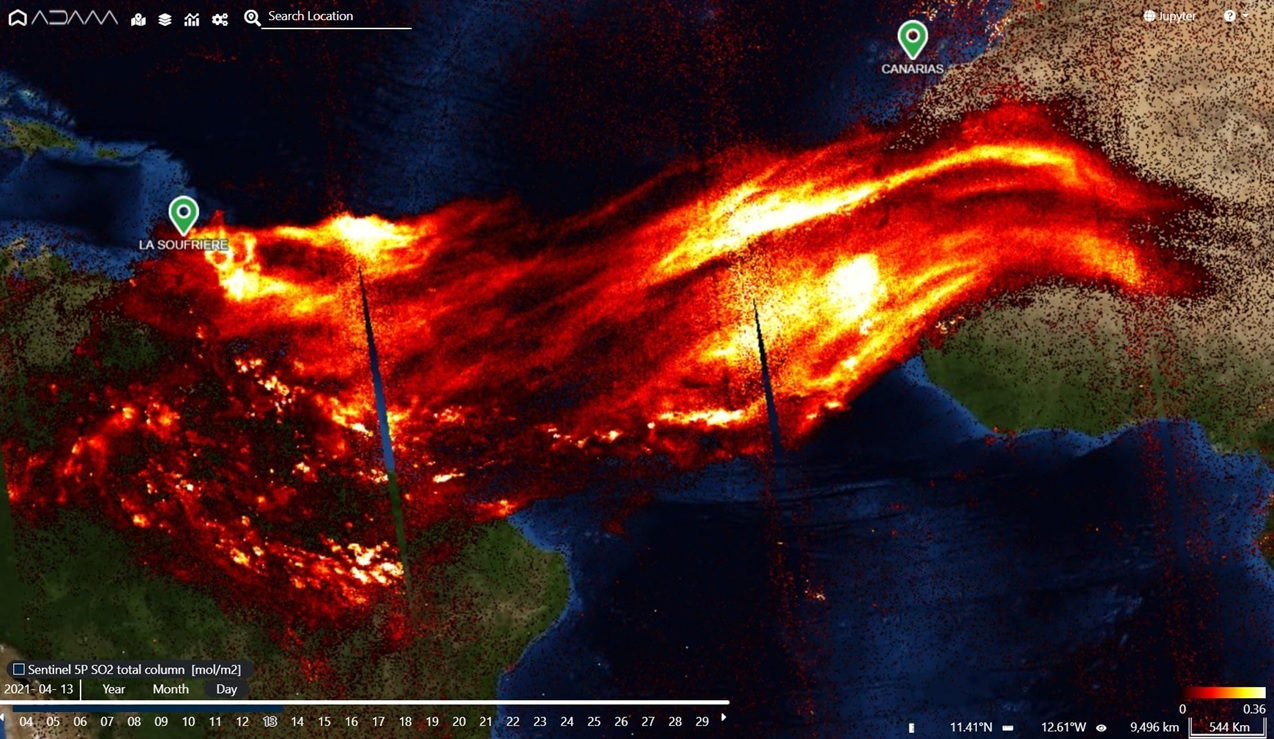 Eruzione La Soufriere: la nube di anidride solforosa potrebbe avere effetti globali