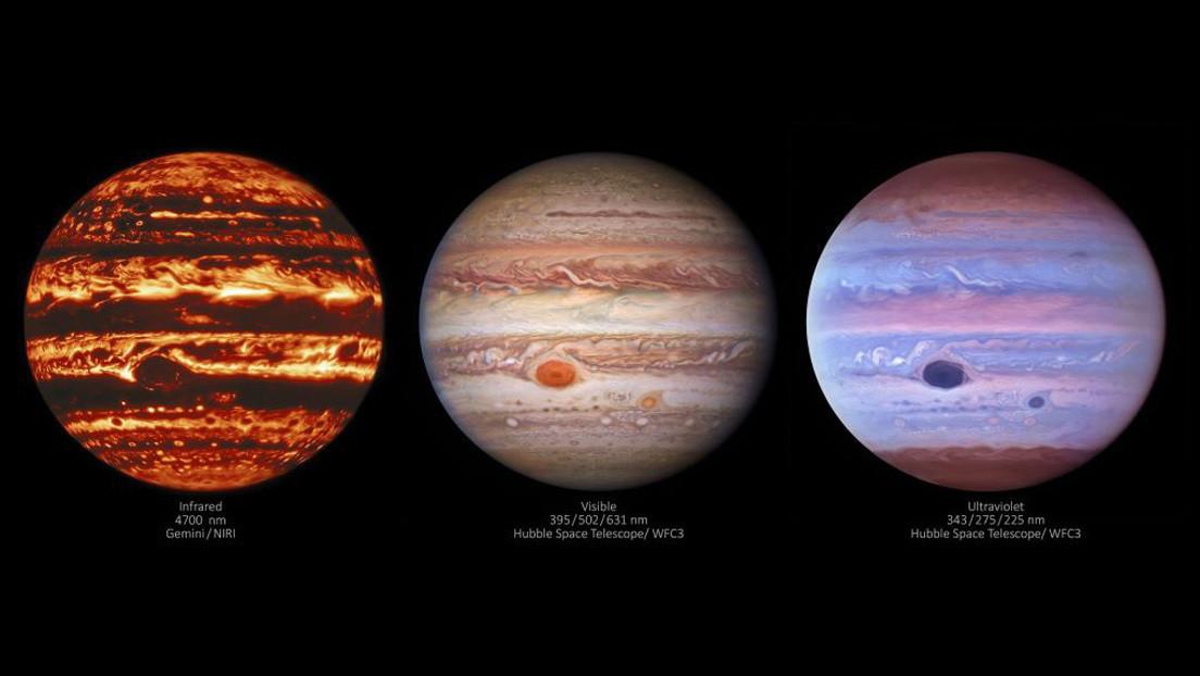 Giove: tre immagini del pianeta rivelano una caratteristica inedita della Grande Macchia Rossa