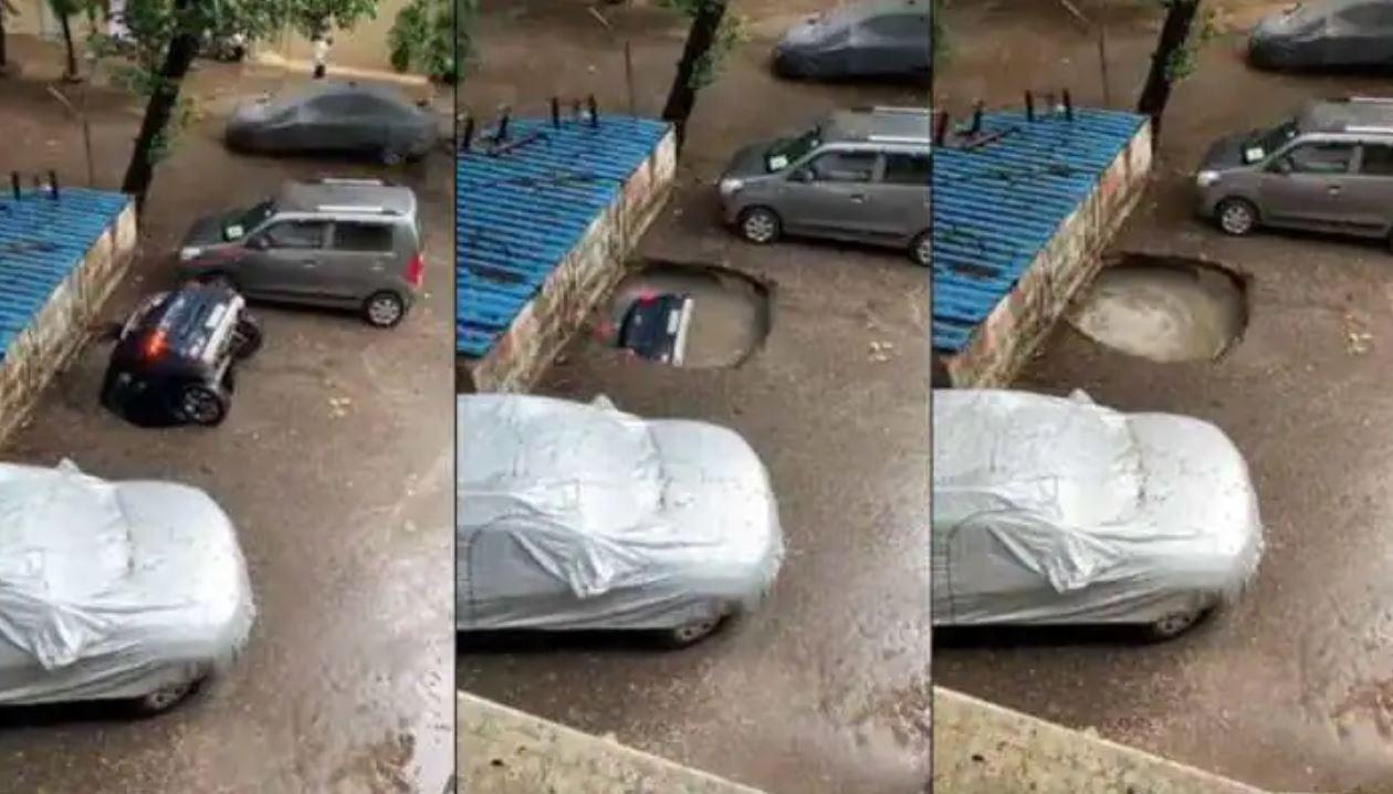 """Voragine si apre a Mumbai e inghiotte un'intera auto: """"Sprofondata nel nulla"""""""