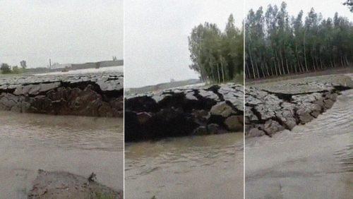 India: il terreno si solleva separando le acque. Il video del fenomeno